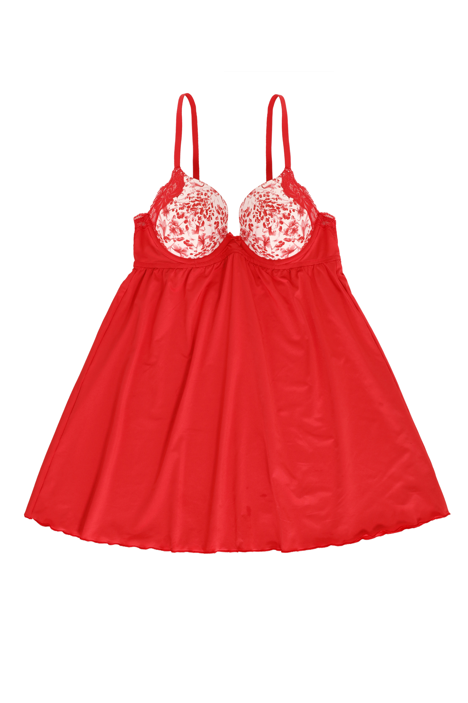Padded Wired Plunge Babydoll Tomato Red MRP2695 front