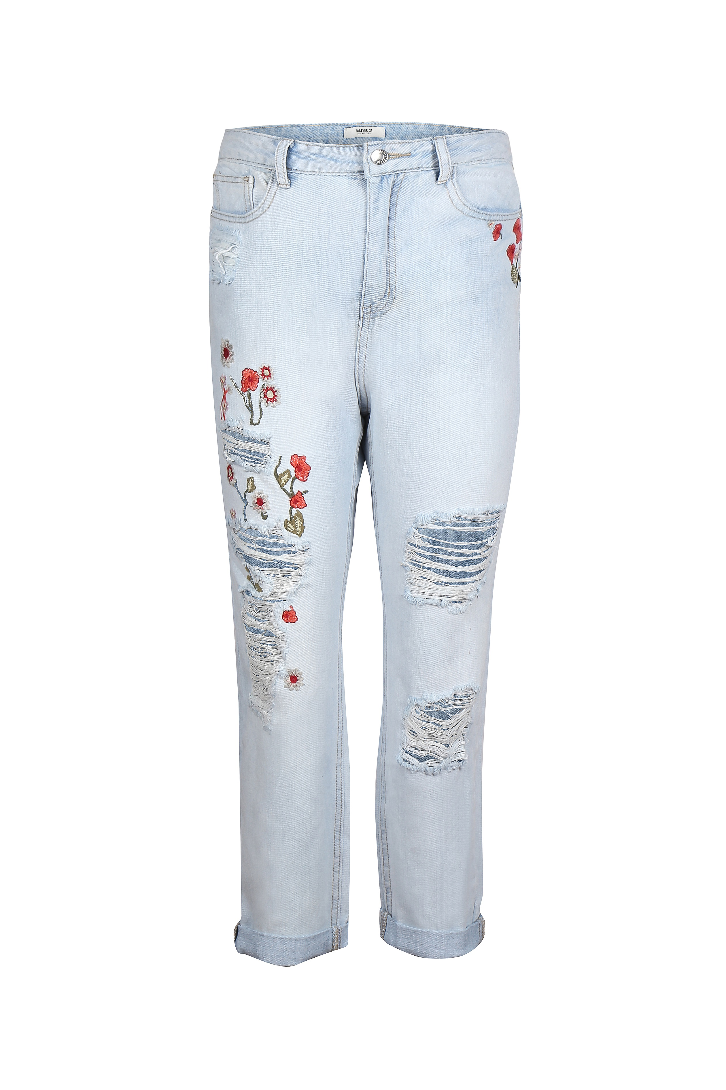 Light blue jeans with floral patchwork detail for women - Rs. 2249