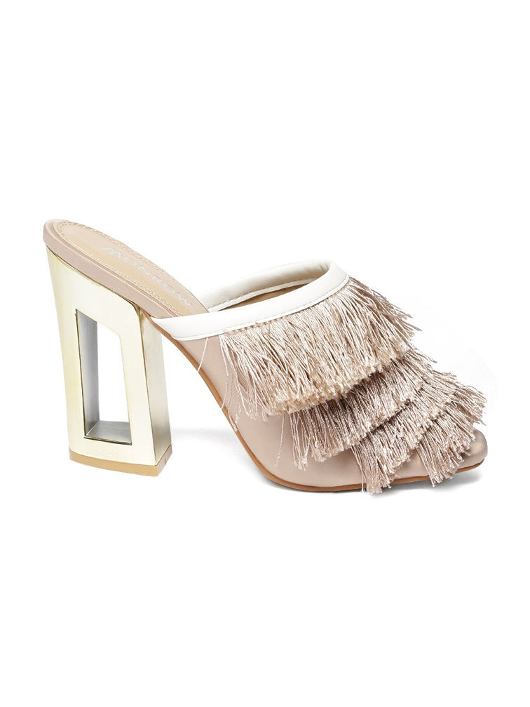 Monrow-Women-Beige-Solid-Sandals
