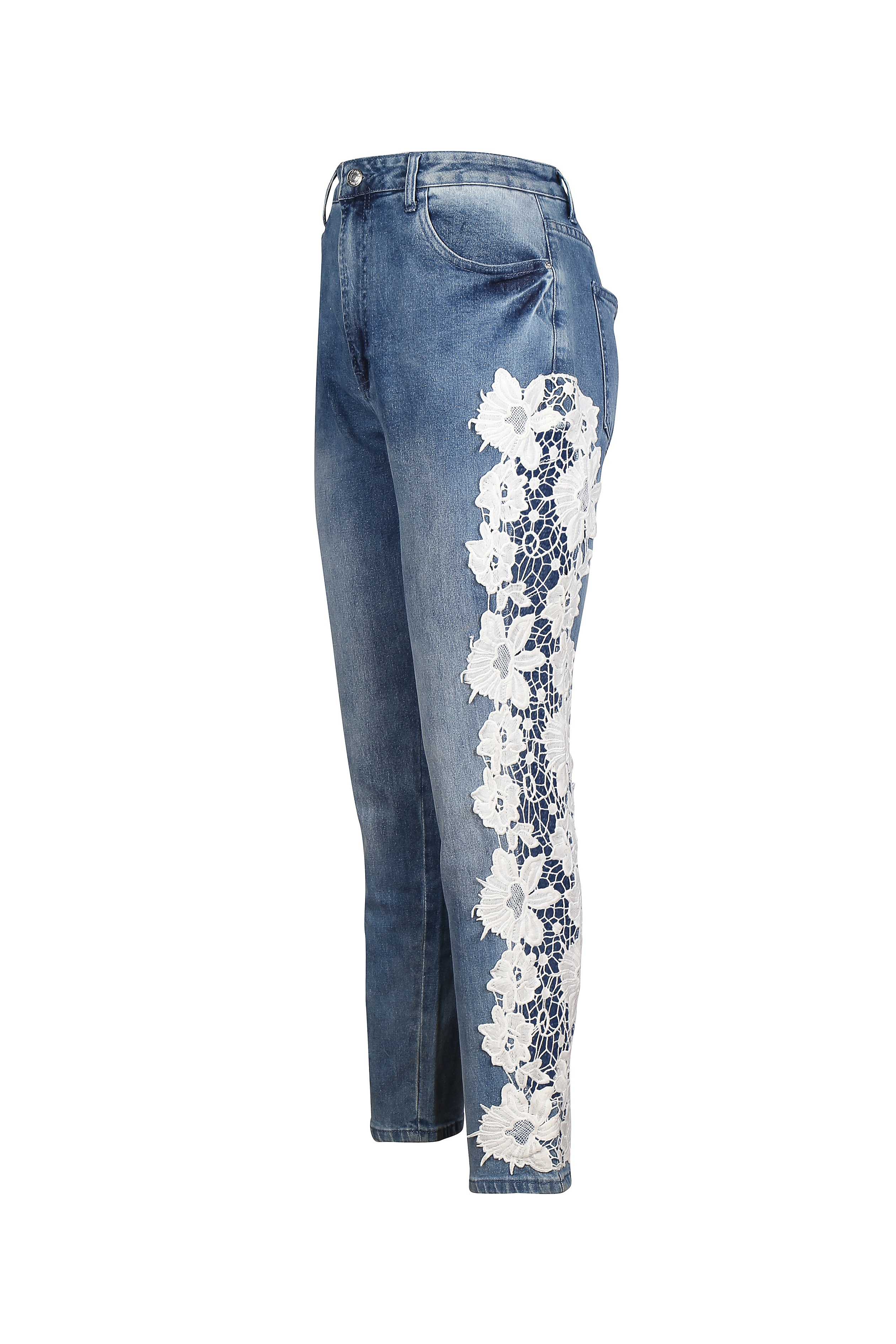 Navy blue jeans with white lace detail for women - Rs. 2249