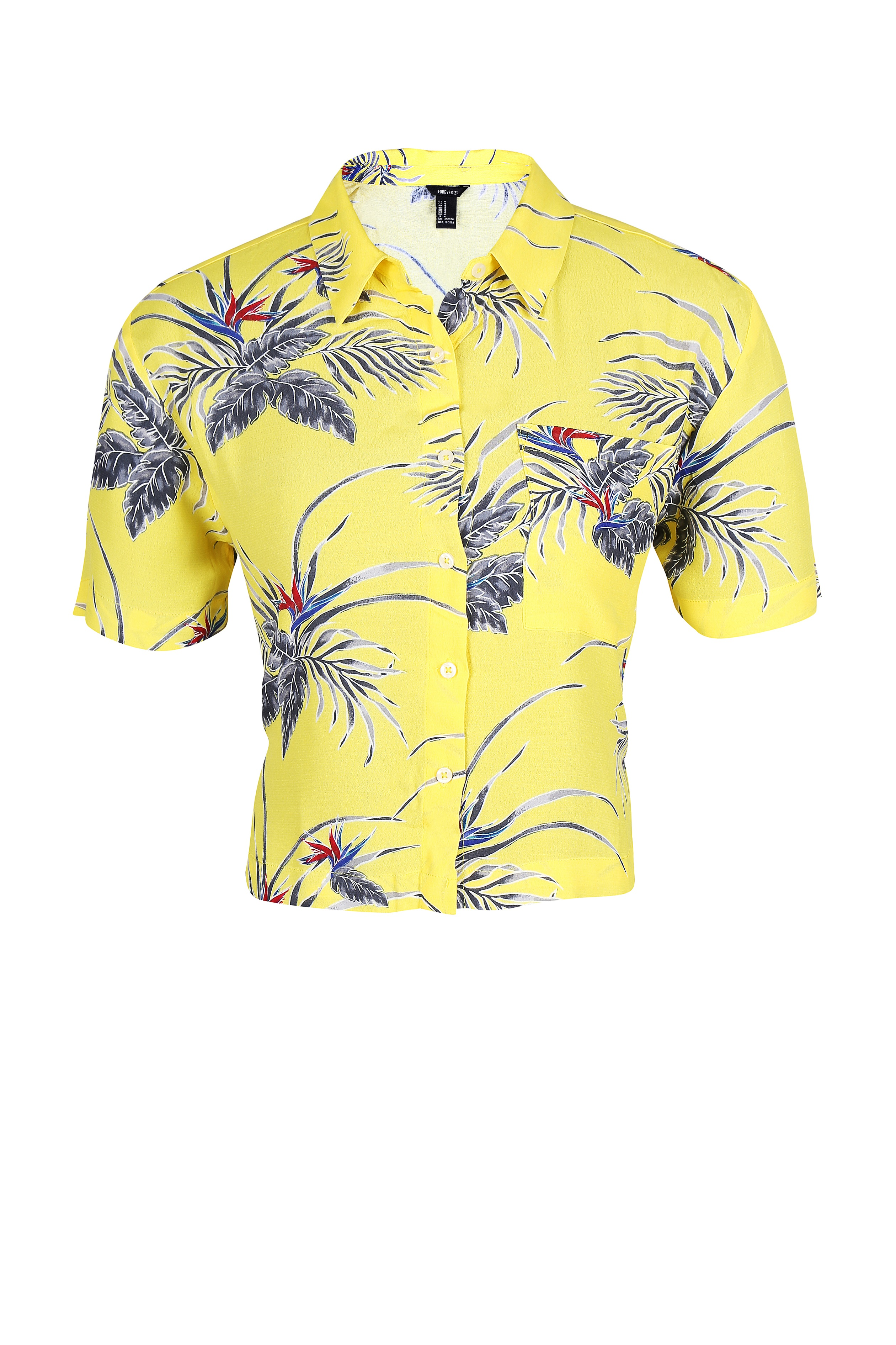 Yellow leaf print shirt-top for women - Rs. 1299