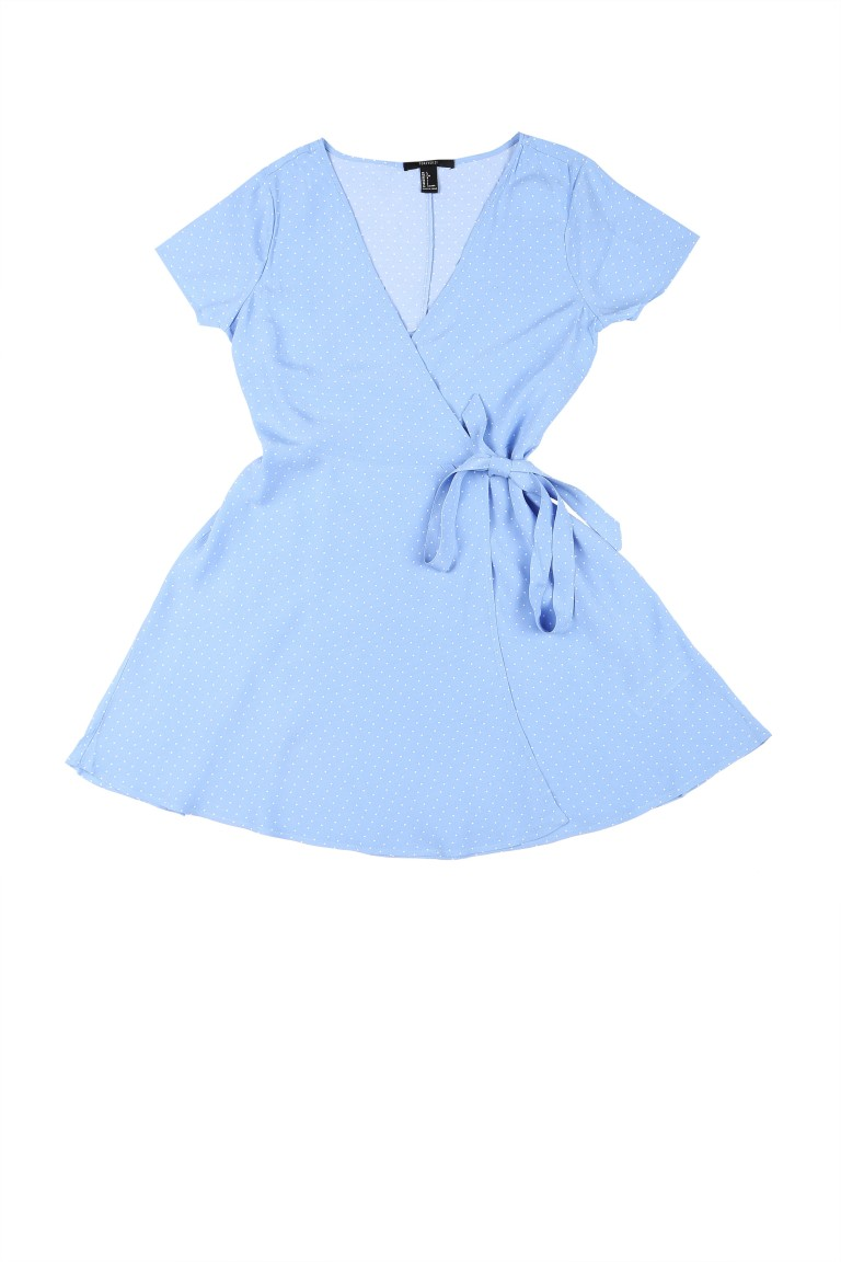 Light Blue Wrap Around Dress - Rs. 1299