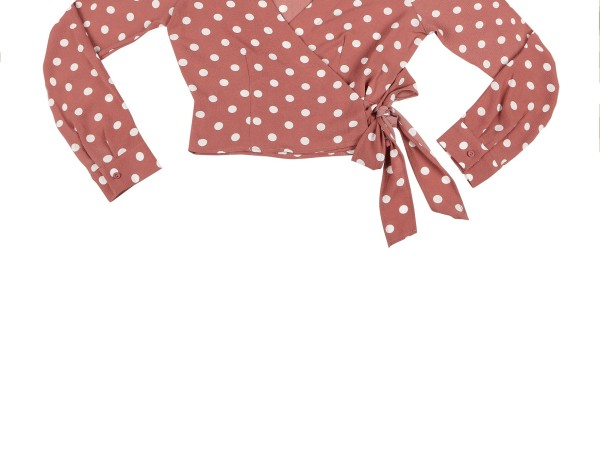 Peach Polka dot wrap around top- Rs. 1049