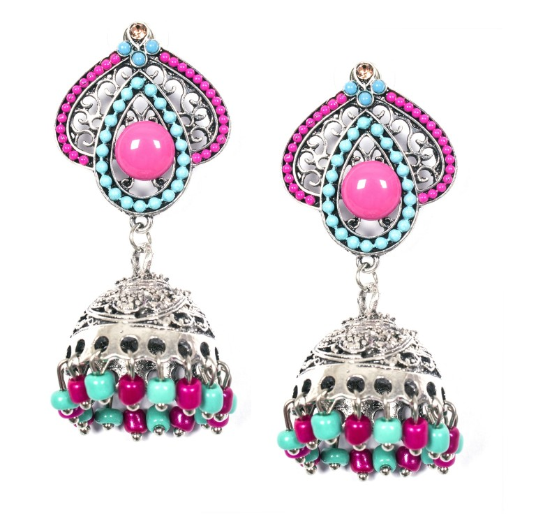 8903705137298 ayesha metallic silver traditional pink and blue beaded jhumki earrings RS.898