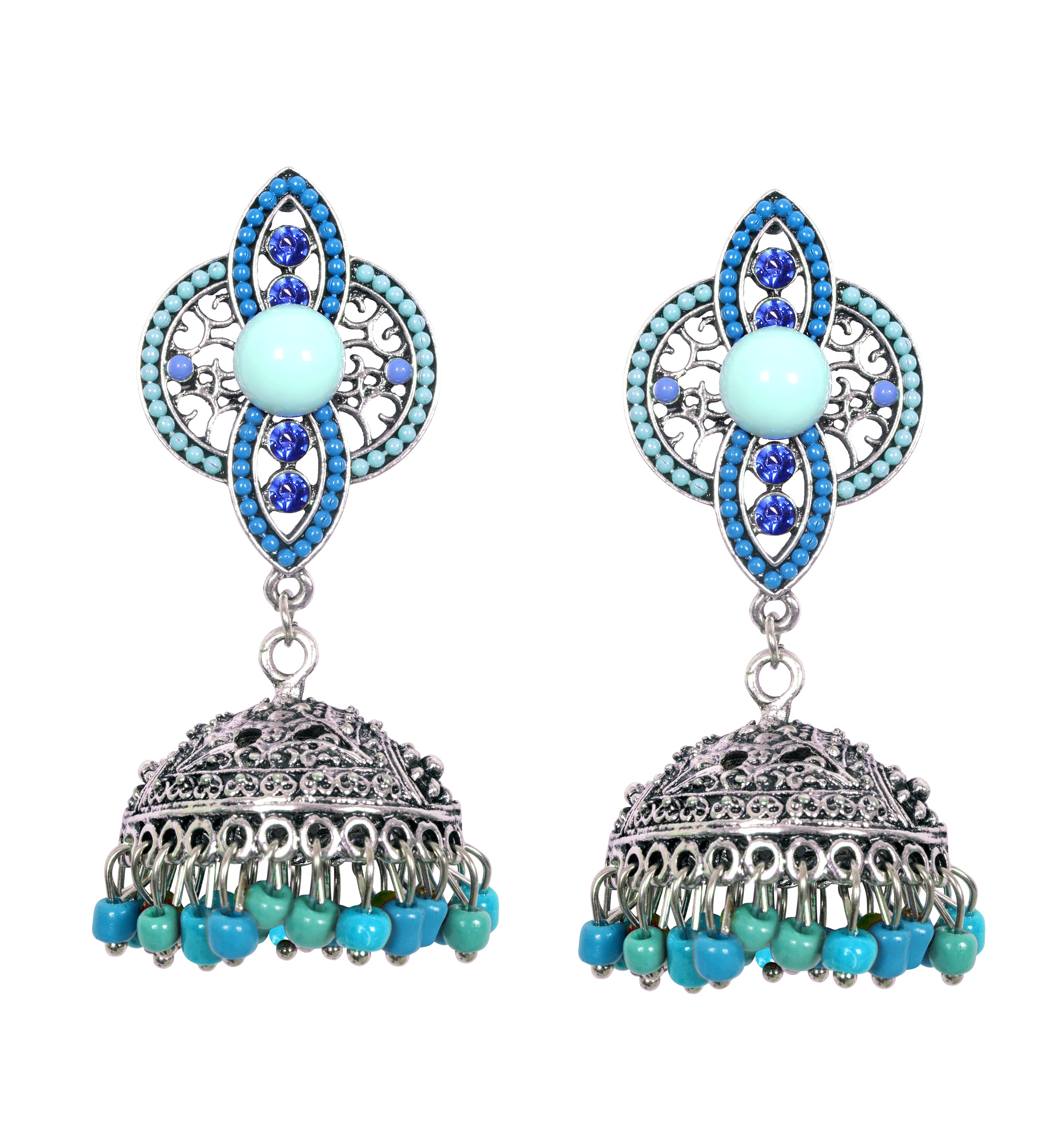 8903705137304 ayesha metallic silver traditional shades of blue beaded jhumki earrings RS.898