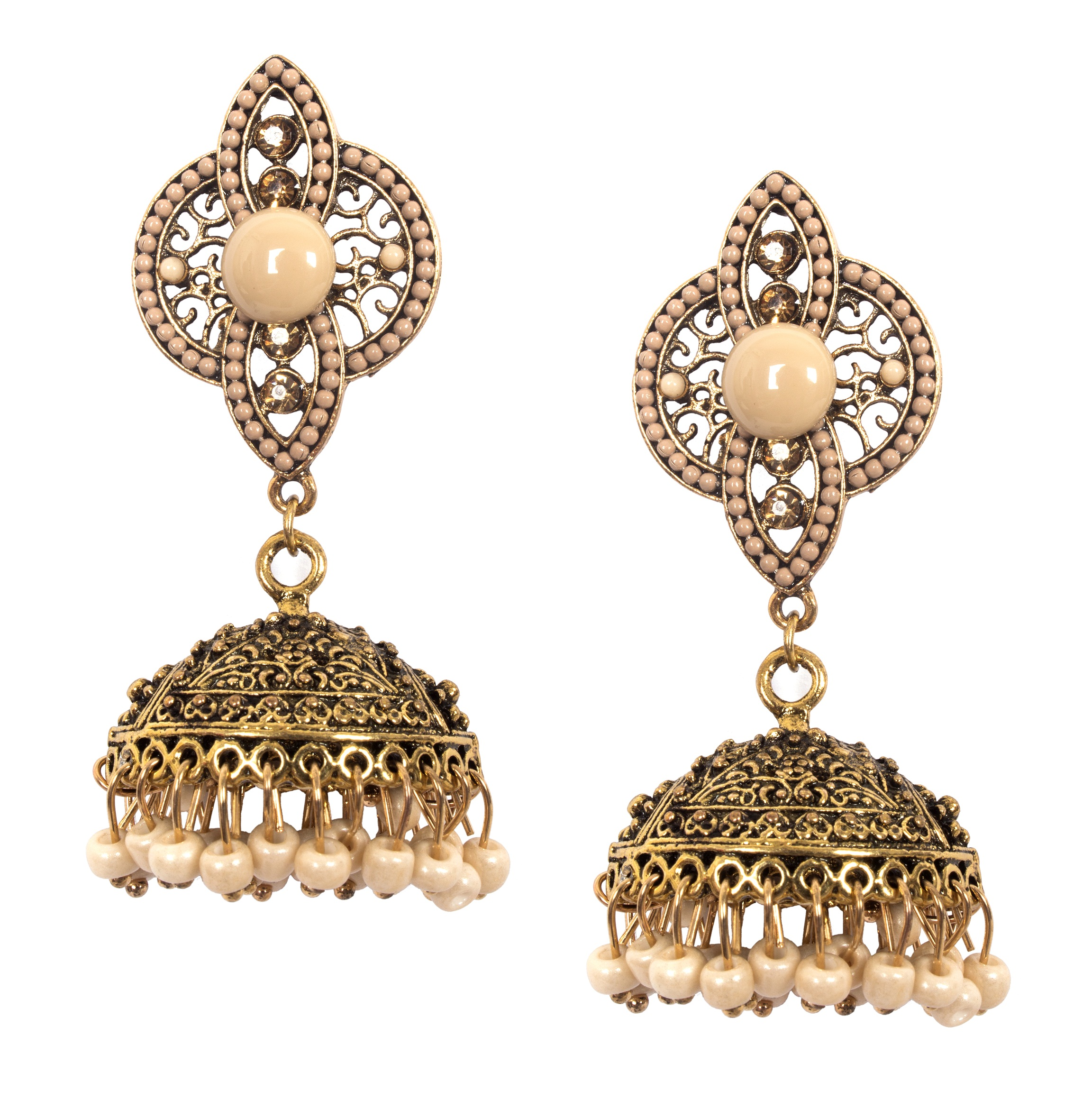 8903705137328 ayesha metallic gold traditional beige beaded jhumki earrings RS.898