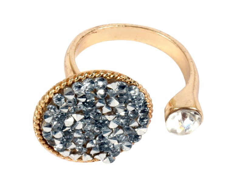 ayesha metallic gold ring with silver studded diamante stones and crystals Rs. 598