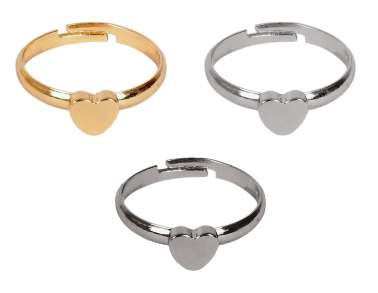 ayesha set of 3 mix metallic color heart shaped rings Rs. 499