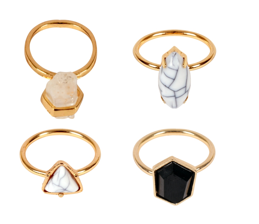 ayesha set of 4 metallic gold geometric shaped crystal rings Rs. 898