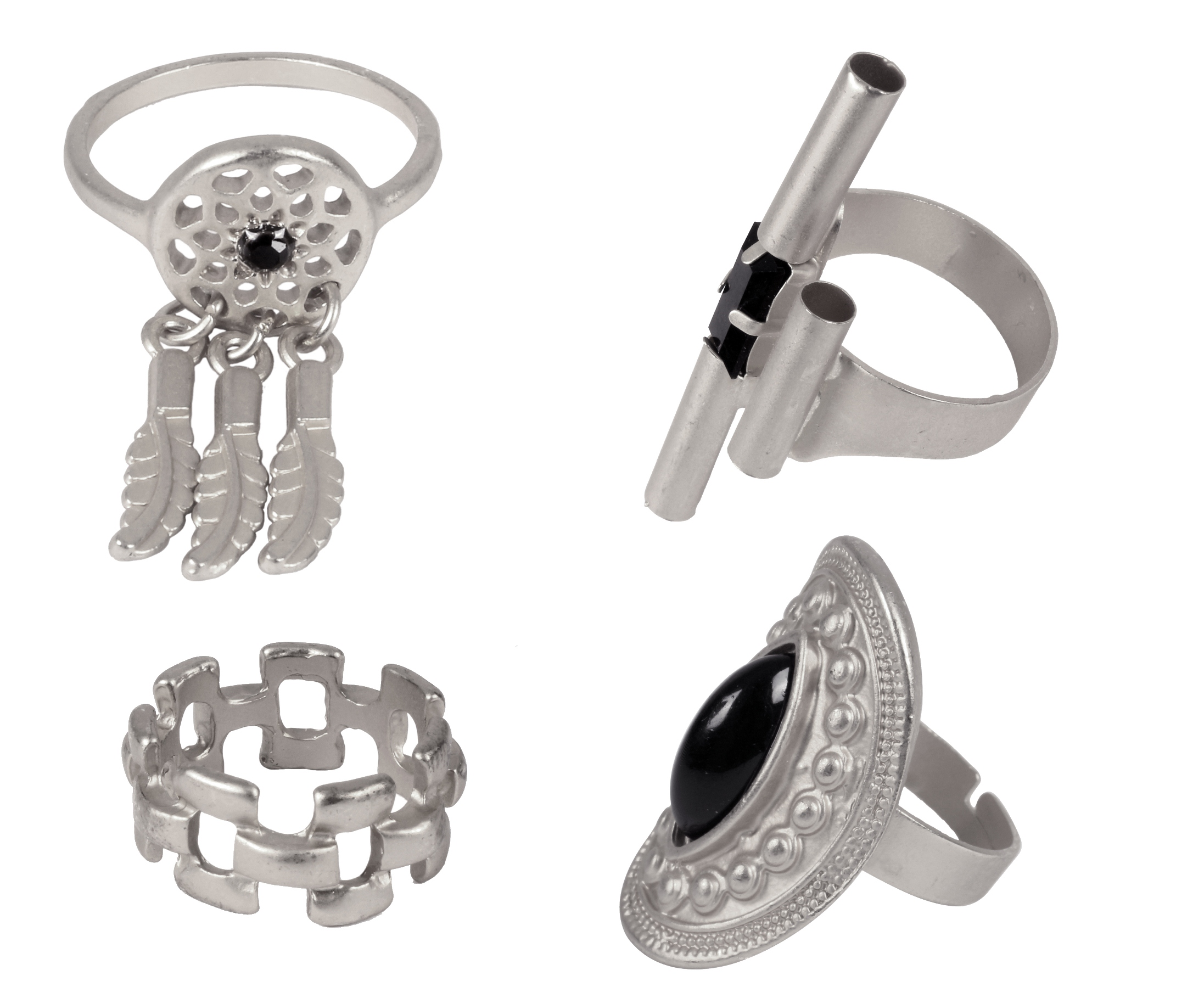 ayesha set of 4 metallic silver bohemian rings Rs. 898
