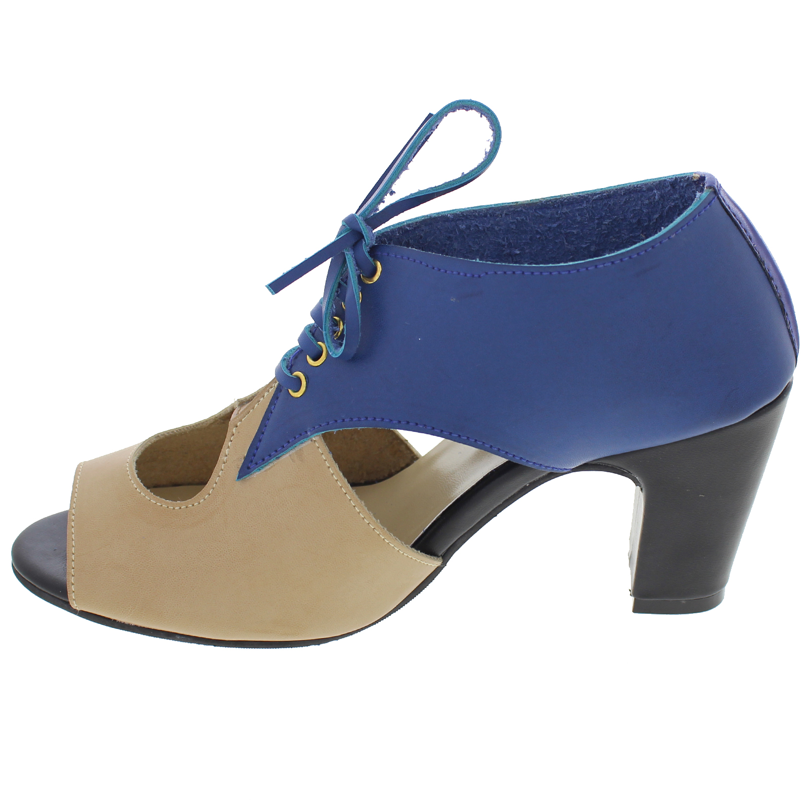 PAIO_DENISE BLUE & BEIGE CUT OUT BOOTS WITH TEXTURES_INR 2,890 (1)