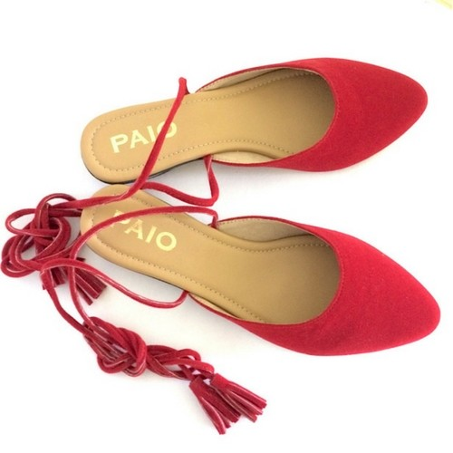 PAIO_MAURICE RED SUEDE FLAT SLIP ONS WITH TIE UP TASSELS_INR 1,890 (1)
